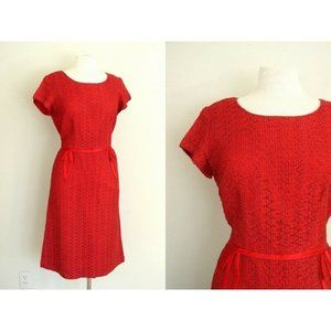 Vintage 1950s Womens Red Ribbon Wiggle Dress